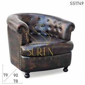 SS1749 Suren Space Tufted Round Back Leather Curved Back Sofa