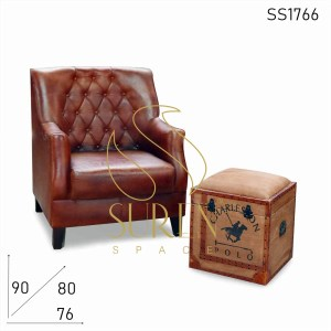 SS1766 Suren Space Tufted Genuine Leather Fine Dine Restaurant Sofa