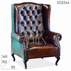 SS2244 Suren Space King Size Tufted High Back Roll Arm Leather Commercial Sofa Design