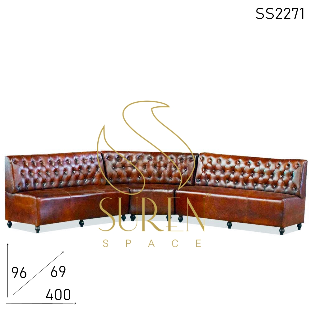 SS2271 Suren Space Three Part Tufted Long Shape Pure Leather Restaurant Sofa