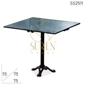 SS2511 Suren Space Cast Iron Granite Stone Top Outdoor Café Bistro Table