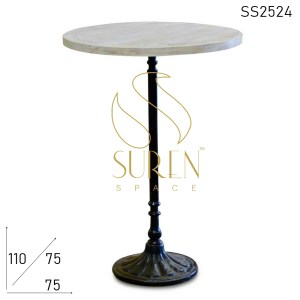 SS2524 Suren Space Cast Iron Designer Pattern White Wash Bar Pub Table