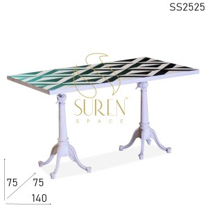 SS2525 Suren Space Black & White Pattern Metal Folding Outdoor Dining Table