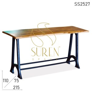 SS2527 Suren Space Cast Iron Live Edge Folding Industrial Bar Table
