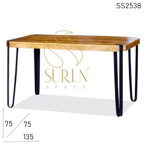 SS2538 Suren Space Metal Base Solid Mango Wood Natural Finish Restaurant Table