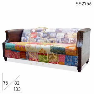 SS2756 Suren Space Multi Fabric Print Canvas Leather Gudri Fabric Three Seater Sofa