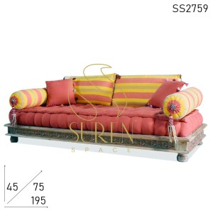 SS2759 Suren Space Carved Solid Wood Fabric Upholstered Three Seater Resort Camp Sofa Design