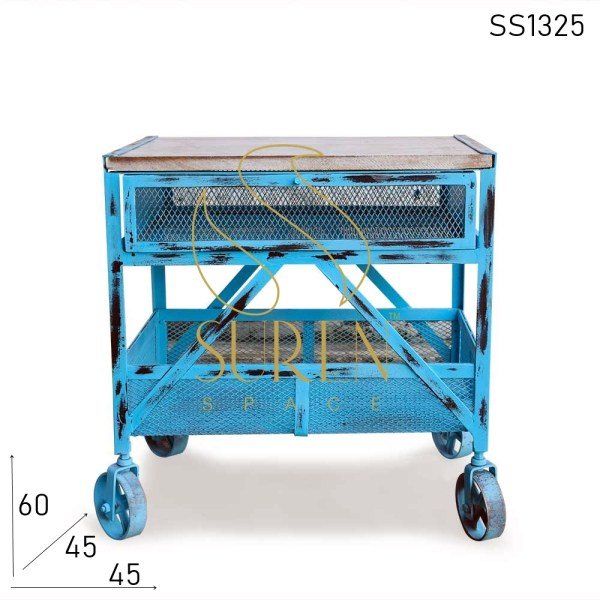 SS1325 Suren Space Sky Blue Distress Shabby Chic Metal Mesh Bedside Table