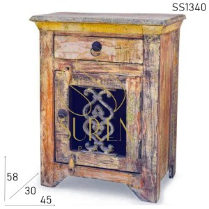 SS1340 Suren Space Old Distress Wood Casting Panel Bedside Table