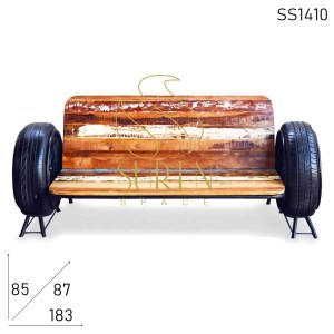 SS1410 SUREN SPACE Automobile Tyre Reclaimed Wood Long Bench Cum Sofa