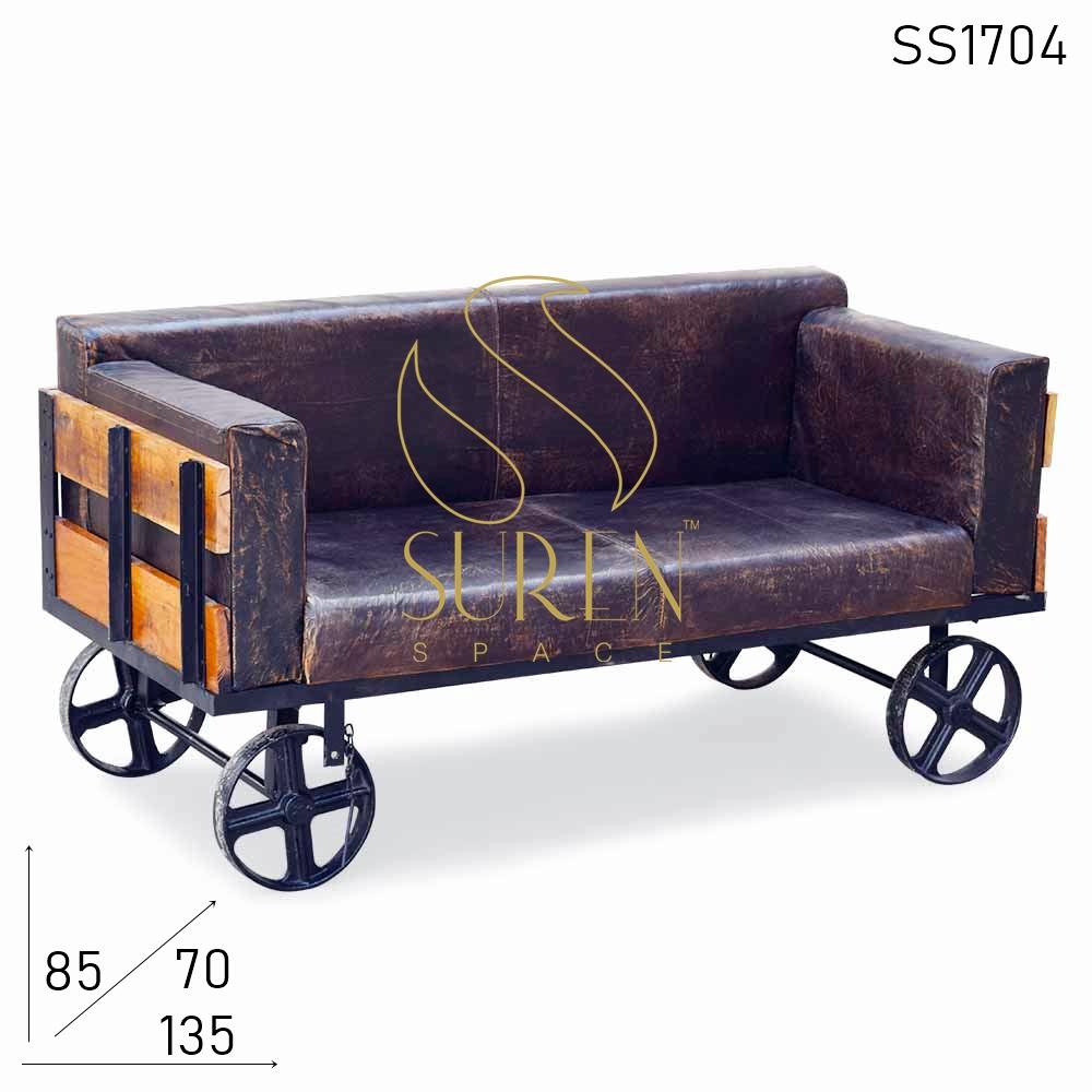 SS1704 SUREN ESPAÇO Ferro Fundido Ferro Aflitivo Couro Retro Design Exterior Sofá Cum Bench Mobiliário