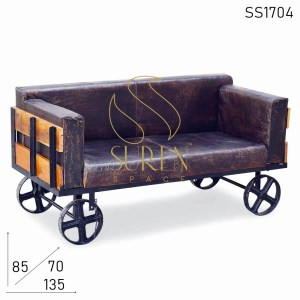 SS1704 SUREN SPACE Cast Iron Distress Leather Retro Design Sofa Cum Bench Furniture