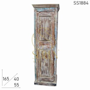 SS1884 Suren Space White Distress Old Indian Wood Single Door Almirah Cabinet