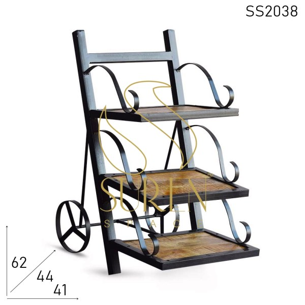 SS2038 Suren Space Bent Metal Solid Wood Wheel Base Resort Camp Bedside