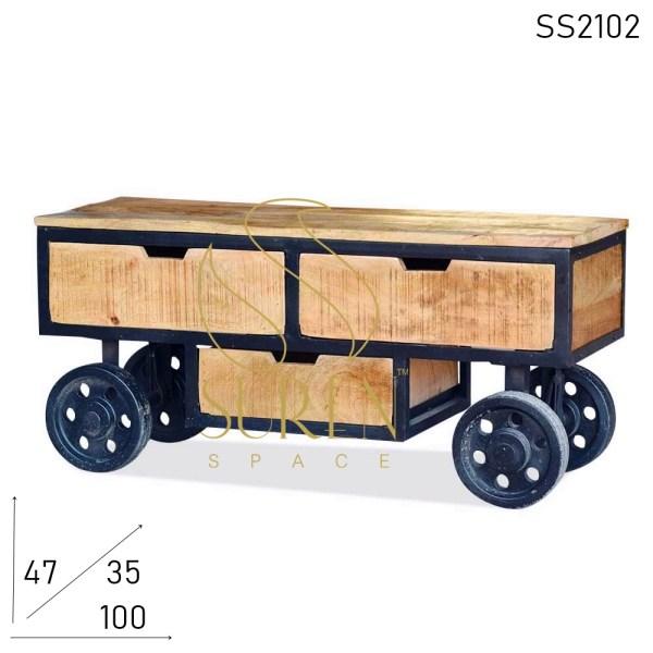 SS2102 Suren Space Rubber Wheel Movable Design Bedroom TV Cabinet