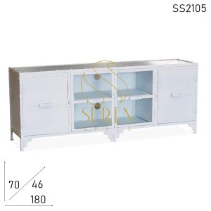 SS2105 Suren Space White Wash Glass Metal Solid Entertainment Unit