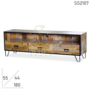 SS2107 Suren Space Natural Wood Industrial Theme Hospitality Bedroom TV Cabinet