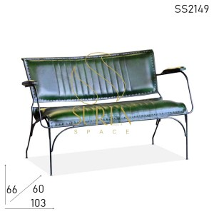 SS2149 SUREN SPACE Army Green Leather Furniture Design Bench