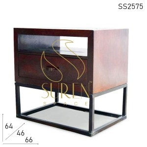 SS2575 Suren Space Metal Wooden Single Drawer Contemporary Style Side Table