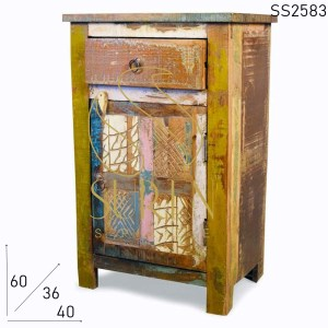 SS2583 Suren Space Old Indian Wood Multicolored Farm House Side Table