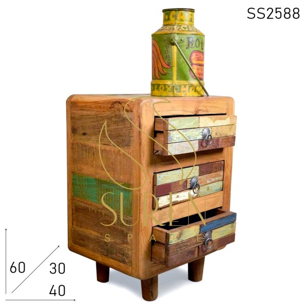SS2588 Suren Space Boat Wood Multicolor Three Drawer Bedside Furniture