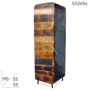 SS2654 Suren Space Single Door Reclaimed Wood Metal Frame Almirah Cabinet