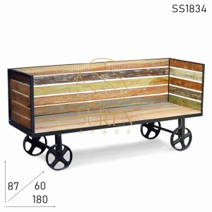 SS1834 SUREN SPACE Casting Wheel Base Industrial Folidng Reclaimed Wood Sofa Bench