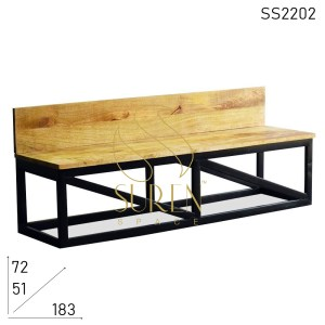 SS2202 SUREN SPACE Design industriel simple Design naturel indien Banc en bois Design