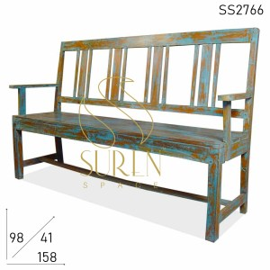 SS2766 SUREN SPACE Blue Distress Antique Finish Solid Wood Bench Design