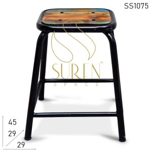 SS1075 Suren Space Black Finish Reclaimed Wood Industrial Stool
