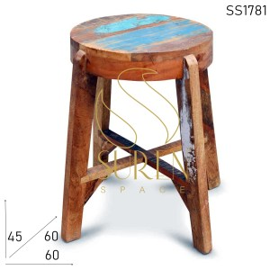 SS1076 SUREN SPACE Reclaimed Wood Round Top Distress Finish Tabouret