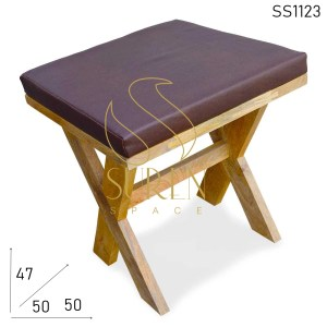 SS1123 SUREN SPACE Cross Leg Natural Mango Wood Stool Design