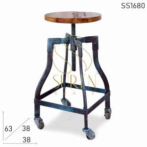 SS1680 SUREN Base de rueda espacial bent metal recuperado taburete de madera