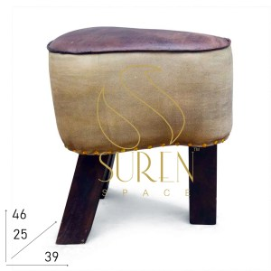 SS1068 SUREN SPACE Canvas Original Leather Cycle Seat Inspire Stool