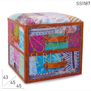 SS1187 SUREN SPACE Traditional Fabric Hand Stitched Drawer Design Stool