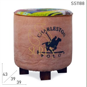 SS1188 SUREN SPACE Round Printed Canvas Gudri Fabric Stool