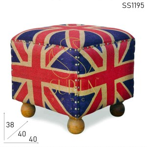 SS1195 SUREN SPACE Flag Design Jute Fabric Handcrafted Pouf Design