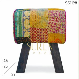 SS1198 SUREN SPACE Indian Touch Upholstered Pouf Design