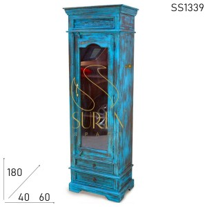 SS1339 Suren Space Blue Distress Single Door Glass Cabinet