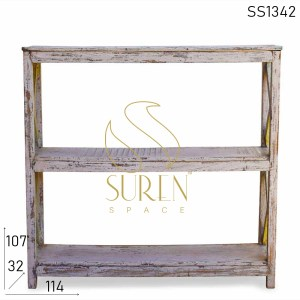 SS1342 Suren Space Shabby Chic Old Wood Bookcase Cum Display Shelf