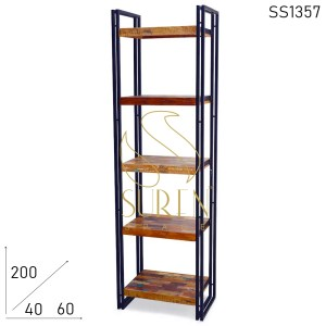 SS1357 Suren Space Black Metal Reclaimed Wood Bookshelf