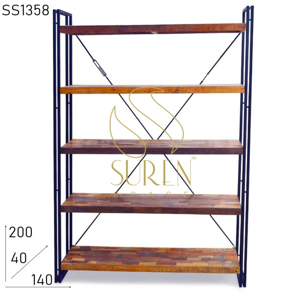 SS1358 Suren Space Industrial Style Reclaimed Wood Bookcase