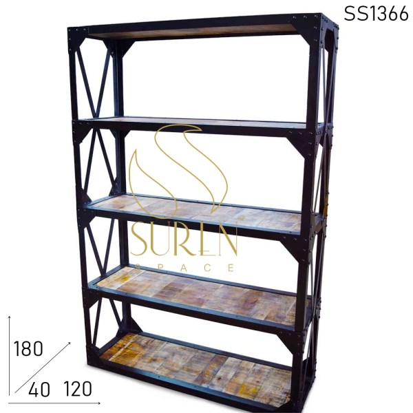 SS1366 Suren Space Rustic Indian Wood Metal Frame Bibliothèque industrielle