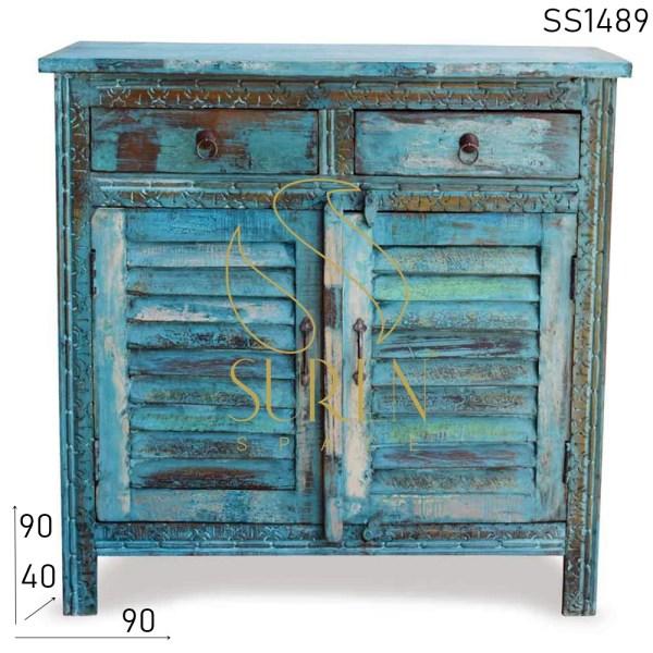 SS1489 Suren Space Blue Distress Gesneden Teruggewonnen Houten Kast