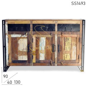 SS1493 Suren Space Indian Reclaimed Wood Industrial Style Sideboard