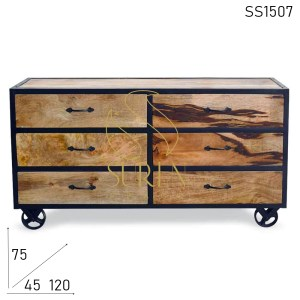SS1507 Suren Space Indian Natural Finish Casting Wheel Drawer Chest Design