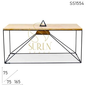 SS1554 Suren Space Light Weight Metal Pine Wood Dining Table