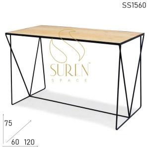 SS1560 Suren Space Minimalistic Iron Base Pine Wood Rectangle Table