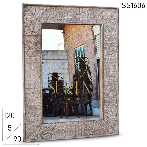 SS1606 Suren Space Hand Carved White Distress Solid Wood Mirror Frame