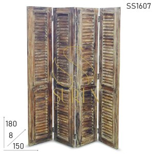 SS1607 Suren Space Distress Finish Shutter Design Folding Divider